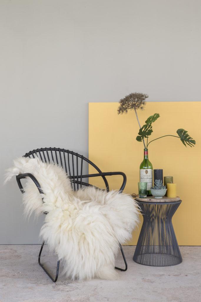 Amazona Krijtverf Olijfgrijs en Citron rotan stoel